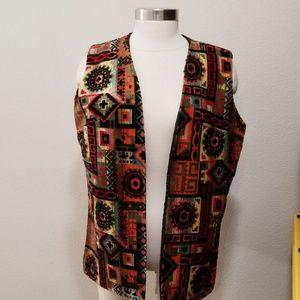 Vintage tapestry carpet bag vest awesome coloring